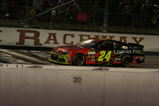 Jeff Gordon crosses the START/FINISH line for his 3rd place run last year. Can he improve that tonight? (Photo courtesy of Parker Anderson via Flickr.com)